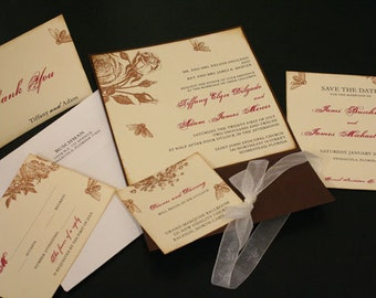 """Wedding Invitation Suite, """"Two Sweet Bees"""", Vintage Style, Flowers, Square, Save the Date, Thank You, Shabby Chic, Unique, Custom Colors"""
