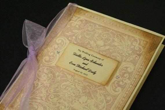 Vintage Wedding Program Book, Ornate Bookcover, Ceremony Program, Order of Service, Folded, Christian, Romantic, Hand-Stamped, Color Options