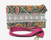 Wristlet, Clutch, or Wallet in Suzani Inspired Print, Crocheted Lace Trim