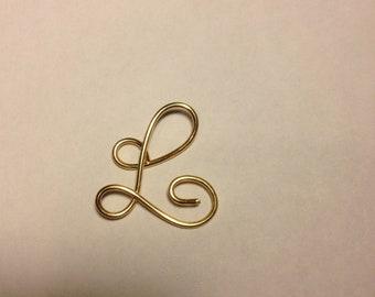 L, gold pendant, alphabet jewelry, Etsy jewelry, Lilyb444, , Gold jewelry