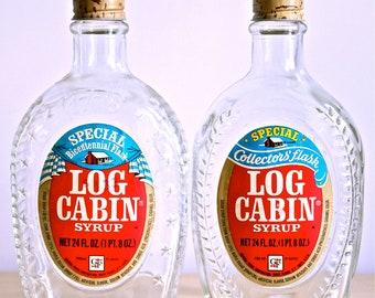 1976 Log Cabin Bicentennial Syrup Flasks Jars (Set of 2)