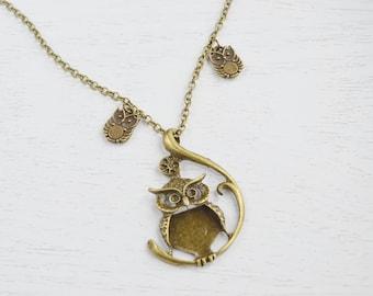 Owl Necklace,Owl Jewelry Necklace,Owl Family Necklace,Mother and Son,Family Necklace,Long Necklace,Feathery Owl Necklace, Family Necklace