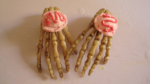 Kawaii Skeleton Hands With Pink Ice Cream Scoops Assembled Hair Clips OOAK Set Of 2
