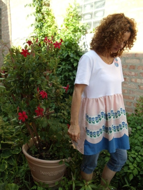 SALE,WAS 45.00,Tulip White Cotton T, Vintage Skirting,Blue Tulip Garden,Upcycled,Eco Friendly,   OOAK