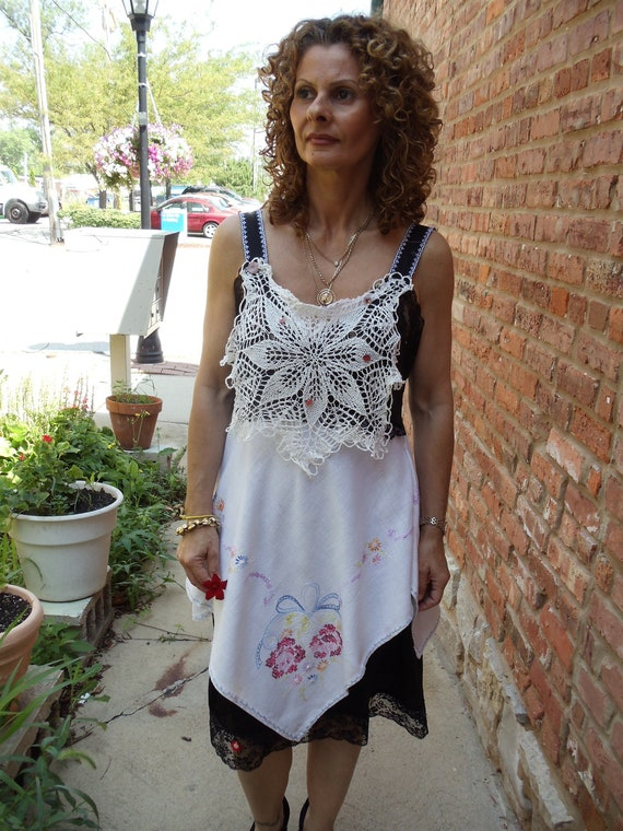 SALE,WAS 95.00,Black Vintage Slip Dress,Hand  Embroidered Flowers on Linen,Cottage Chic,Upcycled,Eco Friendly,   OOAK
