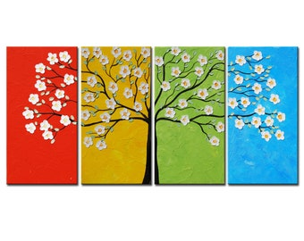 Four Seasons Tree Painting,Blossom Oil Painting,Modern Palette Knife Tree Impasto Large Abstract 24x48,Textured Tree Art