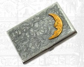 Business Card Case Vintage Moon Man Inlaid in Hand Painted Silver Background Metal Card Case Neo Victorian Metal Wallet Business Card Holder