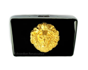 Metal Accordion Wallet Large Lions Head Inlaid in Hand Pianted Black Enamel Leo Credit Card Wallet Custom Color and Personalized Option