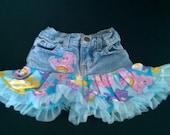 care bear upcycled denim skirt, size 3t