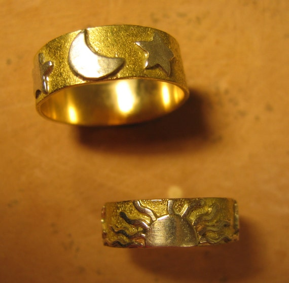 Wedding Ring Set in 14kt Gold--Moon, Sun and Stars