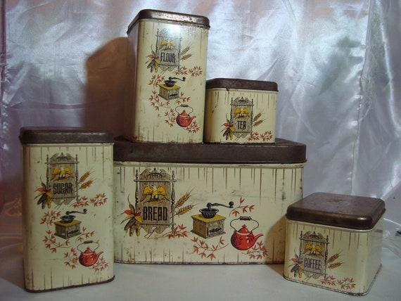 Vintage Canister Set Bread Box Retro Kitchen
