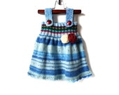 Knitted Baby Dress - Blue Multicolor, 9 - 12 months