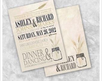 Mason Jar Wheat Wedding Invitation Printable