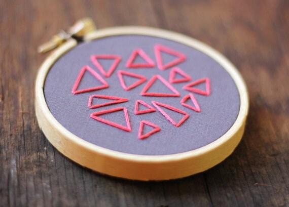 Mini Triangle Traffic Hand Embroidery