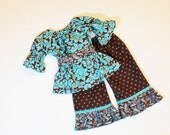 Girls RUFFLE PANTS OUTFIT Size 6mo to 8 Baby Toddler 6mo 9mo 12mo 18mo 24mo 2T 3T 4T 5 6 7 8