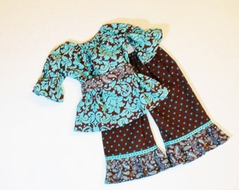 Girls SCHOOL Ruffle Pants OUTFIT Size 6 Months  to 6 FALL Clothes Baby Toddler 6mo 9mo 12mo 18mo 24m o 2T 3T 4T 5 6