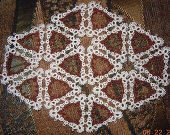 Tatted  DOILY  ready-made Tatting  My ORIGINAL pattern  Versatile Triangles  New twist on lace