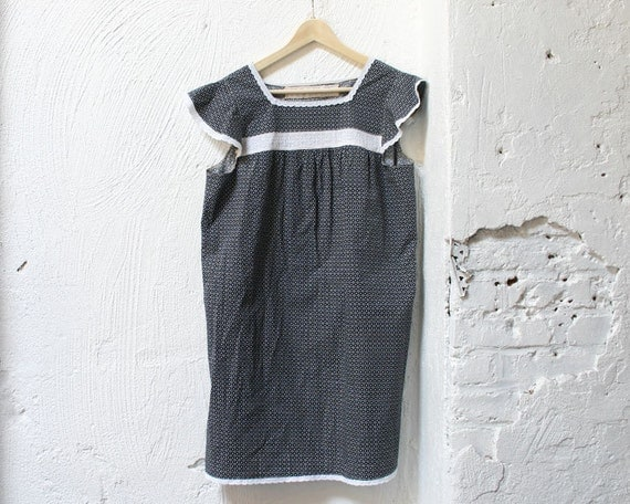 Navy and White Eyelet Cotton Nightgown