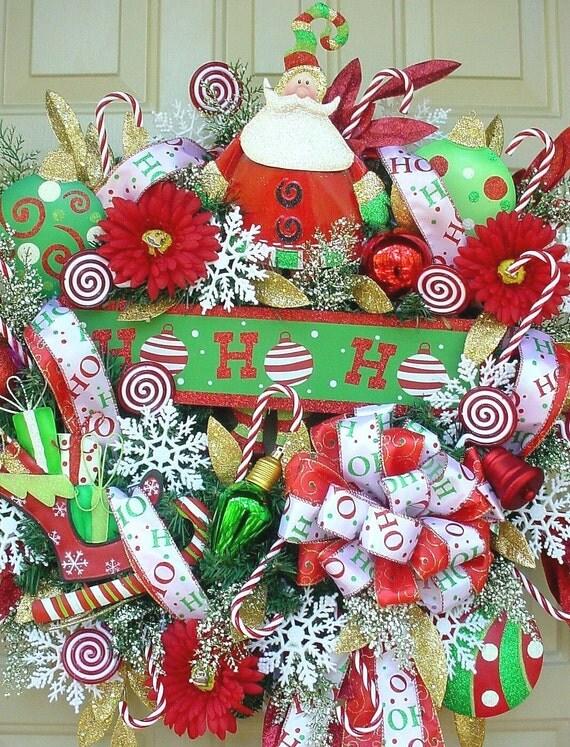 Ho Ho Ho Santa-Colorful Full Christmas Holiday Wreath-Free Shipping-Candy Cane-Santa Wreath-LQQK