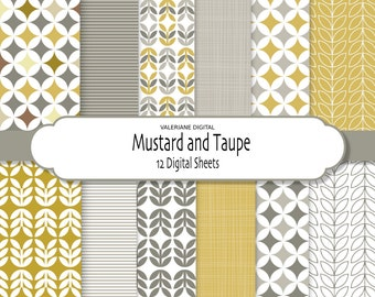 Digital paper pack in mustard and grey, digital backgrounds - 12 jpg files 12x12 - INSTANT DOWNLOAD 272