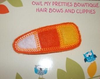 CANDY CORN HALLOWEEN Orange White Yellow Felt Hair Snap Clippie Babies, Toddlers, Girls