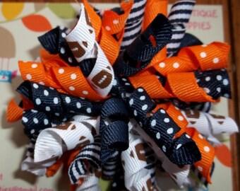 CHICAGO BEARS Denver Broncos NFL Blue Orange Football Korker Bow Infants Toddlers  Girls