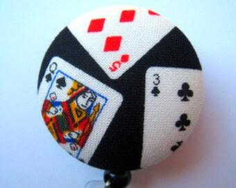 Casino Badge Reel - ID Badge Reel - Cards Badge Holder - Token Card Holder - Retractable Badge - Fabric Badge Reel - Casino Card Reel