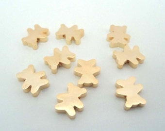 F-39. 4pcs, Matte Gold plated Bear beads