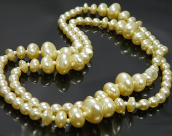 Vintage Champagne Colored Glass Pearl Beaded Necklace