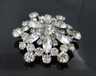 Vintage Domed Round Prong Set Marquis And Round Rhinestone Brooch In Rhodium Plated Setting