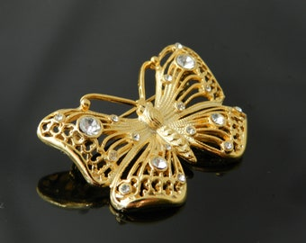 Vintage Gold Tone Butterfly With Rhinestones