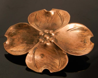 Vintage Copper Dogwood Flower Brooch Pin Signed NYE