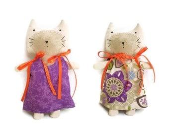 Kitten Softie Cat Doll Orange Purple With Reversible Dress