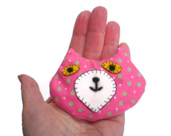 Cat Head Rice Heat Cold Pack Microwavable for Hand Pocket or Kids Boo Boos and Ouchies Pink Green White