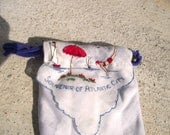 Sweetest Pouch Purse ever, TINY, Vintage Atlantic City Beach Scene, Delicate Cotton