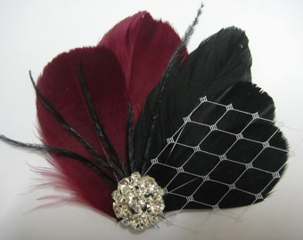 Wedding Bridal Bridesmaid Burgundy Red Black Feather Rhinestone Jewel White Veiling Head Piece Hair Clip Fascinator
