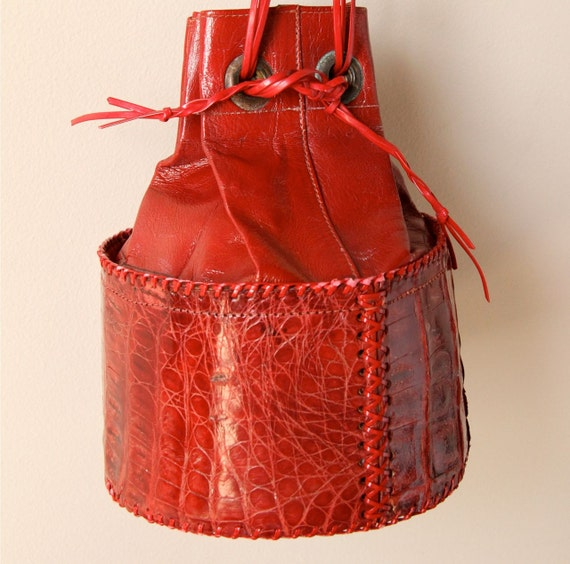 Rustic Leather Bucket Bag, exotic African crocodile croc drawstring purse, small wristlet clutch size, lipstick cherry red crimson color