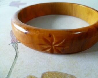 Vintage Amber Carved Bakelite Bracelet