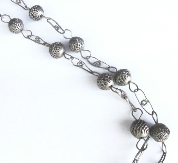 Silver Filigree Bead Necklace 1970s