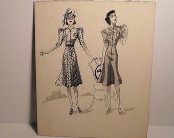 Original 1930's Art School Pen and Ink Fashion Drawing