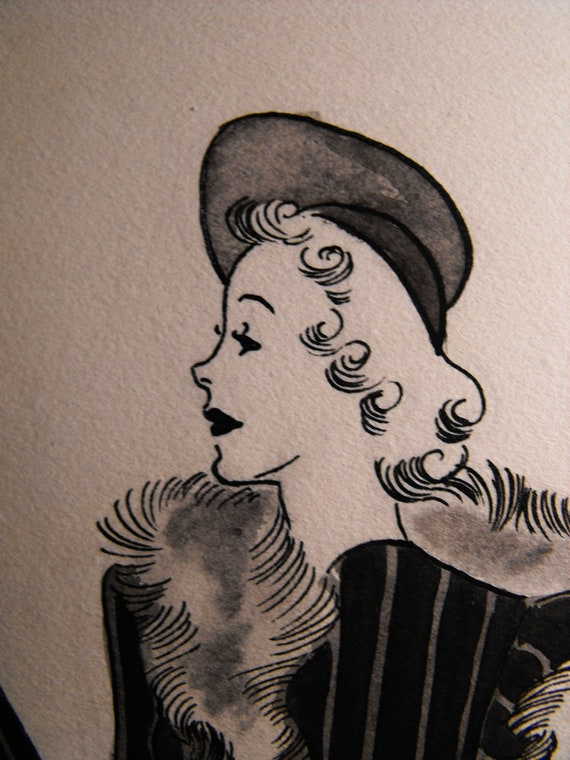 Original Art School Pen And Ink Fashion Drawing By
