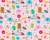 Clearance Riley Blake Santa's Workshop Pink Toys 1 yard