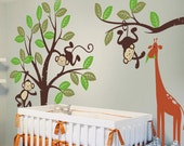 Nursery Wall Decal  - Monkey and giraffe - Kids Wall Decal decor