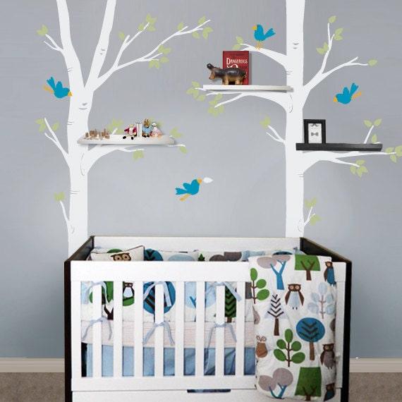 Items similar to kids wall decal big tree and birds - Cuartos de ninos decorados ...