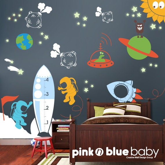 Kids wall decals outer space removable wall by pinknbluebaby for Outer space vinyl wall decals