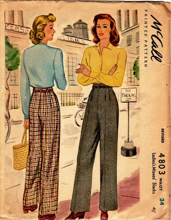 1942 Ladies' and Misses' Slacks  McCall 4803  Waist 24  Hip 33  Factory Folded
