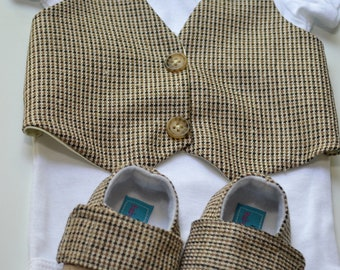 Brown Tan Vest Bow tie Baby Boy Outfit Photo Prop Matching Shoes