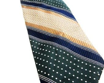 Gold Tan Blue Green Necktie Polka Dot Stripe Neck Tie