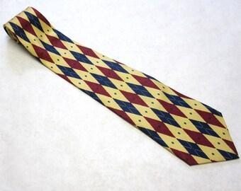 Vintage Necktie Red Blue Diamonds On Creamy Yellow Silk Tie