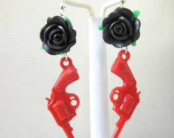 Guns Roses Earrings Western 6 Shooter Jewelry Red Black